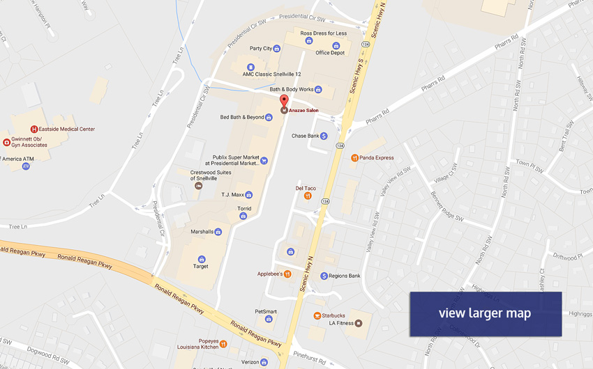 Location and Hours - Anazao Salon Snellville | Aveda Concept ... on nearest golden corral locations, applebee's store locations, number of applebee's locations, chili's locations, huddle house locations,